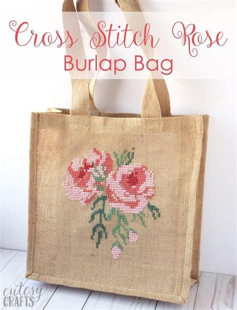 rose cross stitch burlap bag tutorial  polka dot chair