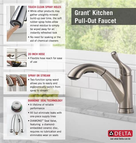Delta Grant Single Handle Pull Out Sprayer Kitchen Faucet