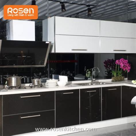 Stainless Steel Kitchen Cabinets Manufacturers by China Customized High Gloss Black Stainless Steel Metal