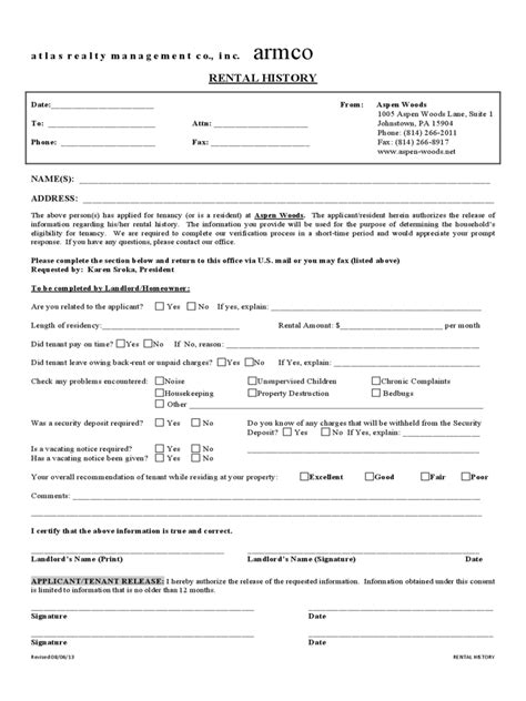 rental history verification form   templates
