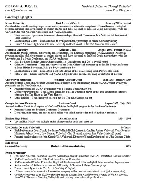 Coaches Resume by Resume Coach Chuck College Coach