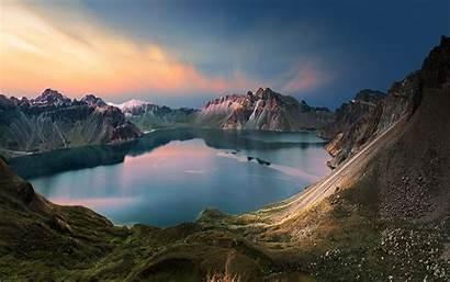 Sunrise Mountain Lake Landscape Sky China Nature