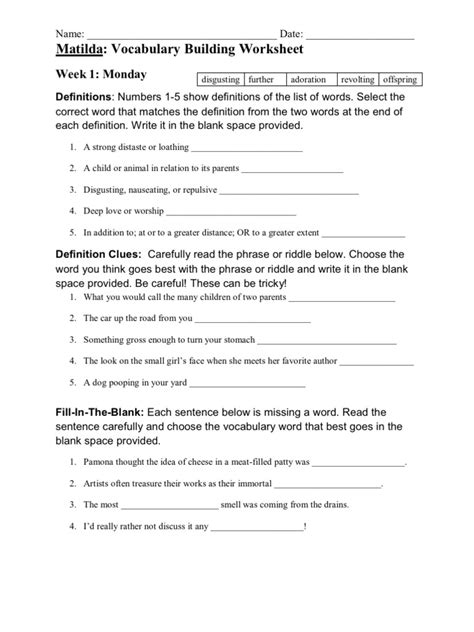 matilda vocabulary building worksheets vocabulary