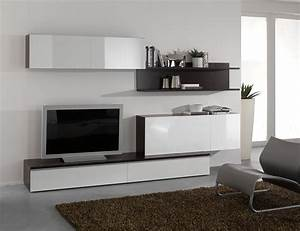 Meuble Salon Blanc : meuble tv mural design ~ Dode.kayakingforconservation.com Idées de Décoration