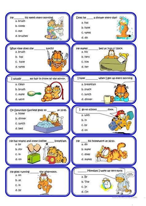 present simple  routine speaking cards worksheet