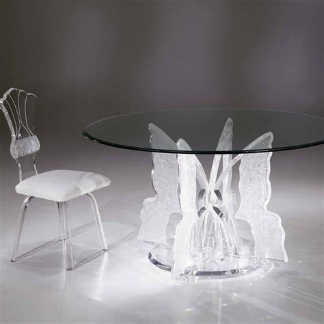 clear acrylic dining table clear acrylic butterfly ii round dining table with glass