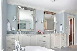 ivory and blue bathroom with beaded beveled mirrors With what kind of paint to use on kitchen cabinets for flower mirror wall art