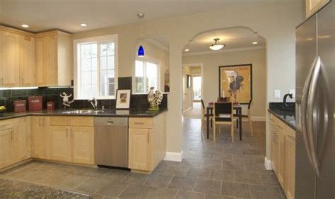 maple cabinets dark counter  grey floor