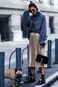 Pleated Skirt Chunky Sweater