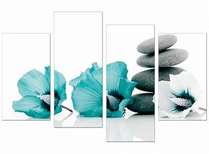 canvas wall art of flowers in teal for your living room With teal wall art