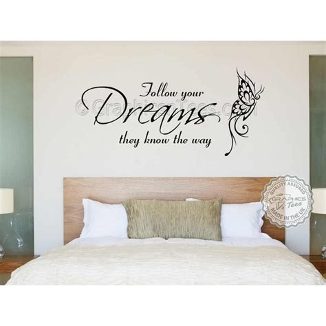 follow your dreams inspirational quote family wall sticker vinyl mural decal with butterfly