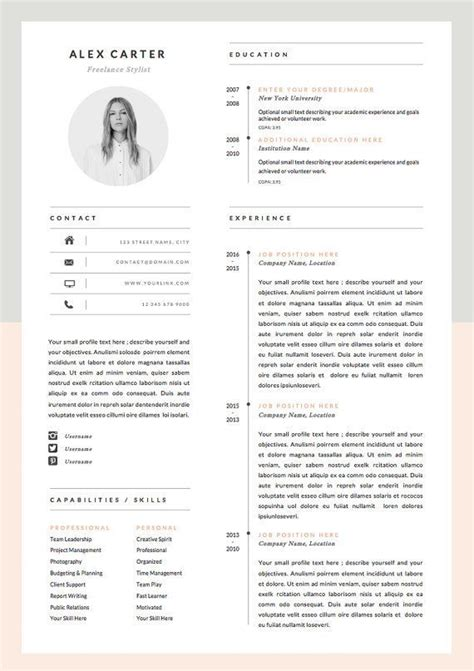 Set Resume Template by Modern Resume Template Cover Letter Icon Set For