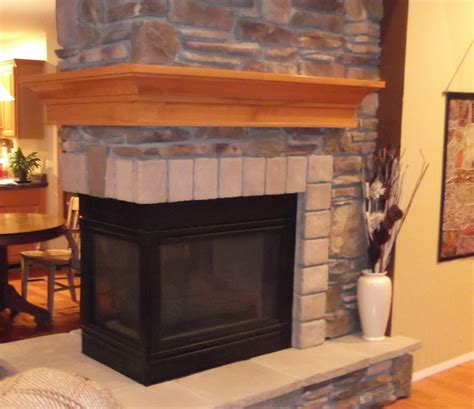 Interior Light Wooden Fireplace Mantels With Brick