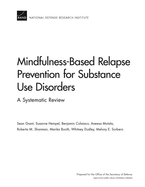 Mindfulness-Based Relapse Prevention for Substance Use
