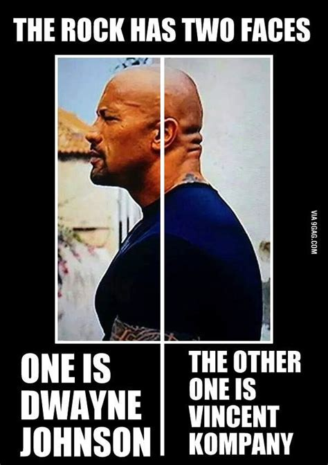 The Rock Meme - the rock has two faces one is dwayne johnson and the other one is vincent kompany vincent