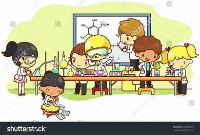 Cartoon Science Chemistry Scientist Studying Kid Children