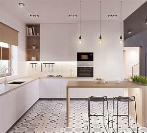 1001 astuces et idees pour amenager une cuisine en l for Deco cuisine avec chaise blanche bois