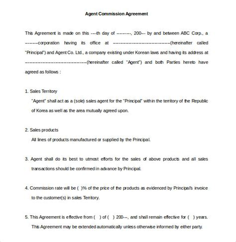 commission agreement templates word  pages
