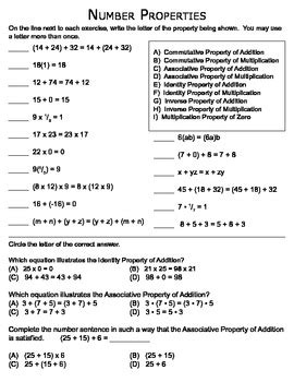 math number properties matching worksheet by