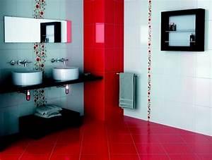 travaux decoration salle de bain rouge et blanc With salle de bain rouge et blanche