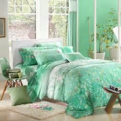 mint green leaf print bedding sets luxury queen king size silk quilt duvet cover sheet bed
