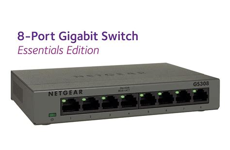 switch gigabit 8 ports netgear 8 port gigabit desktop switch in metal essentials edition gs308