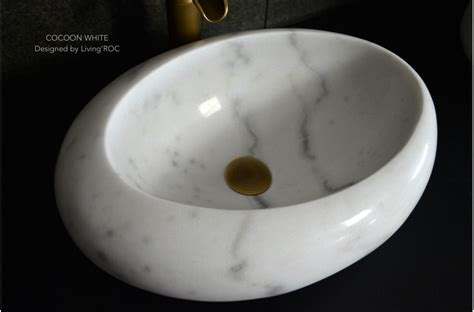 mm oval white marble stone wet room wash basin sink