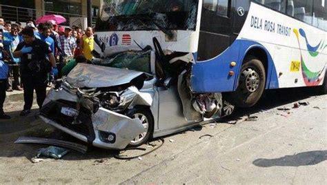 shocking    car  crushed    bus  edsa