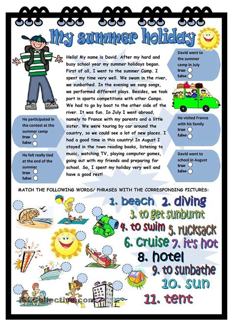 summer holiday  images holiday worksheets