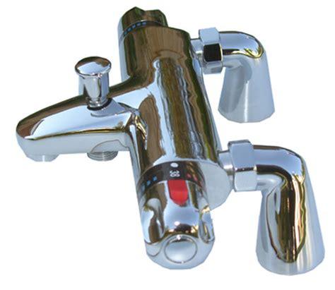Bath Shower Mixer Valve - deck mounted chrome thermostatic bath shower mixer valve