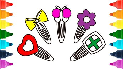 draw hair pins  girls coloring pages hair