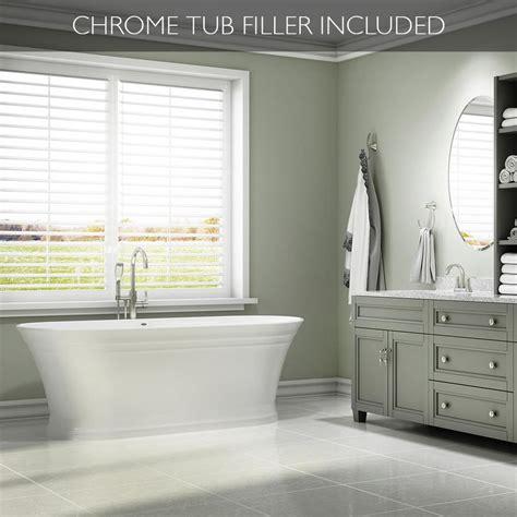 Shop Tub by Shop Lyndsay 67 In White With Center Drain Bathtub