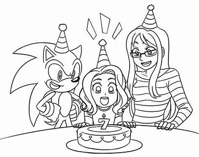 Coloring Sonic Birthday Pages Party Friend Seventh