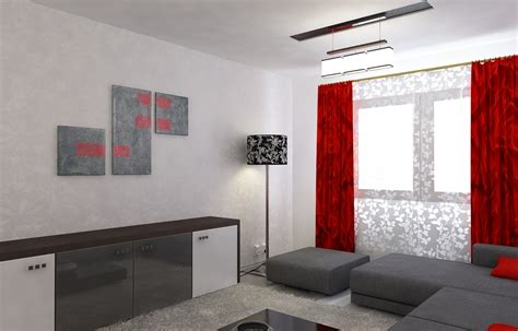 Wohnzimmer Rot Grau by Bilder 3d Interieur Wohnzimmer Rot Grau 3