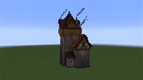medieval tower house   designing    survival base minecraft