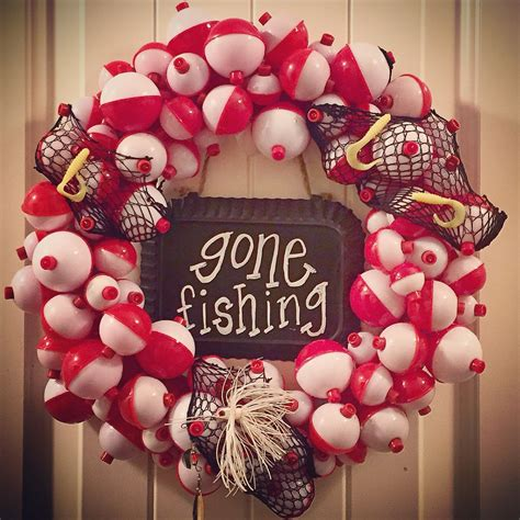 fishing bobber wreath hunting  fishing bedroom