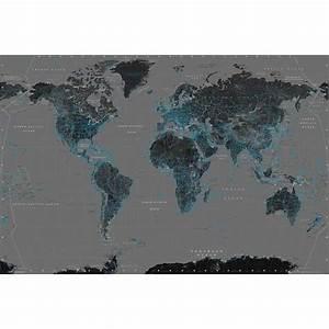 Carte Du Monde Noir : affiche de la carte du monde bleu et noir 61 x ~ Teatrodelosmanantiales.com Idées de Décoration