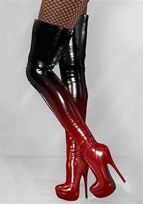 changing black  red knee high platform boots