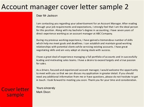 Account Manager Cover Letter by Account Manager Cover Letter