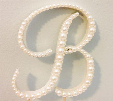 Elegant Pearl Monogram Cake Topper Any Letter A B C D E