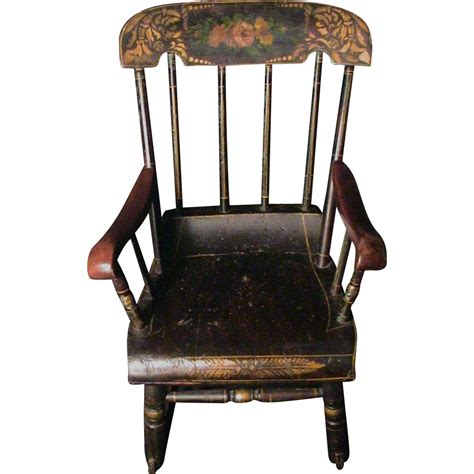 Antique Rocking Chair Value by Antique Child S Rocking Chair Roses Amp Stenciled 19th C