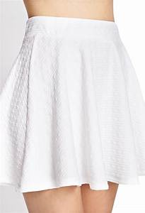 Forever 21 Textured Stripe Skater Skirt in White | Lyst