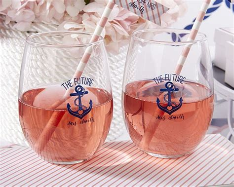 Nautical Themed Bridal Shower - picture of simple glasses with nautical decor and striped
