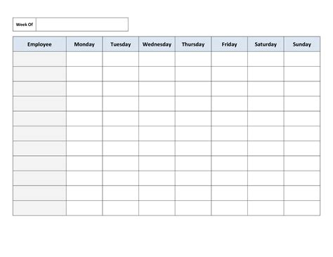 Free Printable Work Schedules Weekly Employee