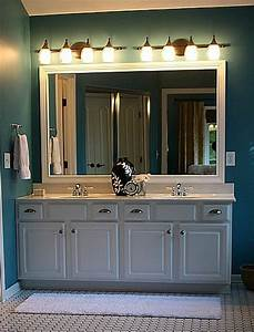 bathroom plate glass mirror framed with molding hooked With molding around mirror bathroom
