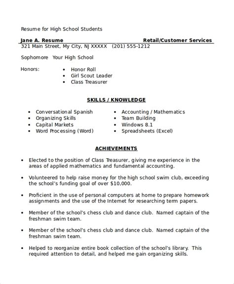 High School Student Resume by Sle High School Student Resume 8 Exles In Word Pdf