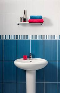 Bathroom with blue and white tiles with amazing style for Bathroom tiles blue and white