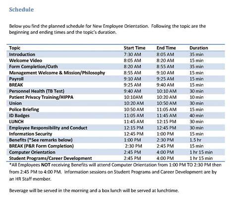 new employee orientation schedule template