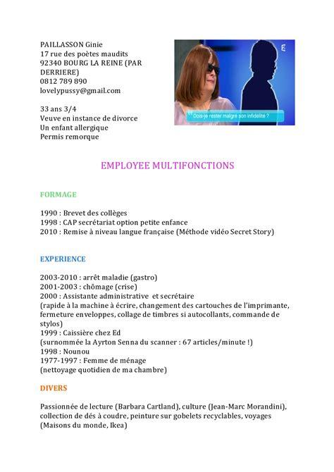 Comment Faire Un Cv En Franàçais by Exemple Cv A Ne Pas Faire