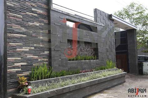 contoh desain pagar batu alam minimalis cantik desain